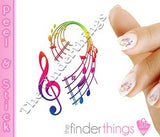 Teble Clef Music Note Color Nail Art Decal Sticker Set - The FinderThings