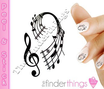Teble Clef Music Note Nail Art Decal Sticker Set - The FinderThings