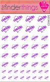 Cowgirl Barbed Wire Heart Purple Nail Art Decal Sticker Set