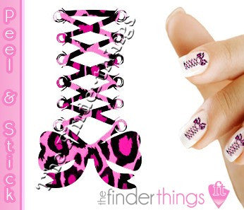Pink Leopard Print Corset Bow Nail Art Decal Sticker Set - The FinderThings