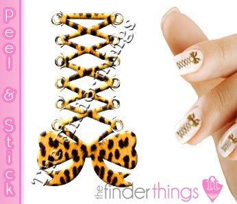 Yellow Leopard Print Corset Bow Nail Art Decal Sticker Set