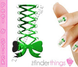 Green Corset Bow Swirl Nail Art Decal Sticker Set - The FinderThings