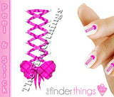 Pink Plaid Corset Bow Swirl Nail Art Decal Sticker Set - The FinderThings
