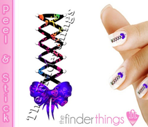 Skull Corset Bow Swirl Nail Art Decal Sticker Set - The FinderThings