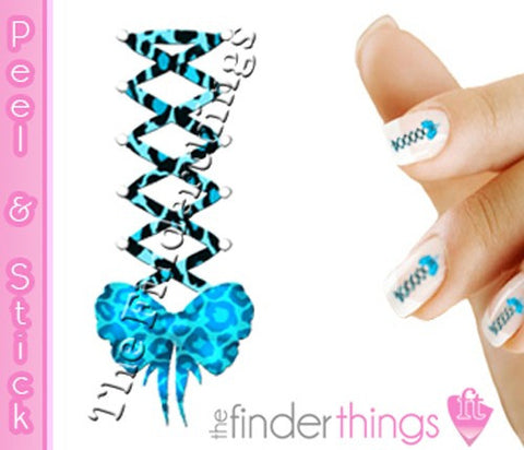 Blue Leopard Print Corset Bow Swirl Nail Art Decal Sticker Set - The FinderThings