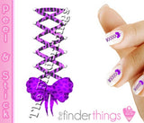 Purple Leopard Print Corset Bow Nail Art Decal Sticker Set