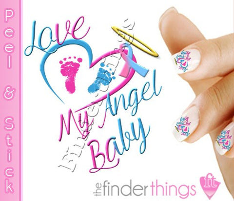 Pregnancy Loss Ribbon Angel Baby Nail Art Decal Stickers - The FinderThings