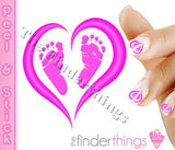 Pregnancy Loss Ribbon Pink Heart and Baby Feet Nail Art Decal Sticker Set