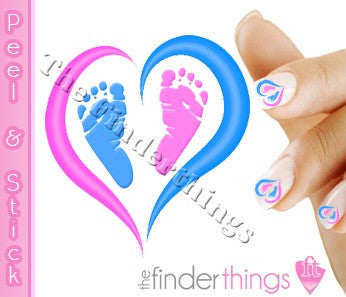 Pregnancy Loss Ribbon Pink and Blue Heart and Baby Feet Nail Art Decal Sticker Set - The FinderThings
