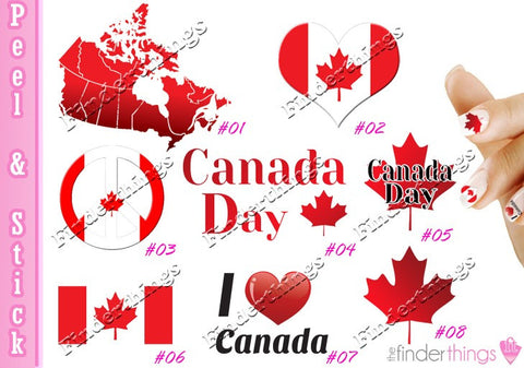 Canada Day and Flag Nail Art Decal Sticker Set - The FinderThings