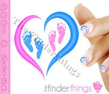 Pregnancy Loss Ribbon Pink and Blue Heart and Two Baby Feet Nail Art Decal Sticker Set