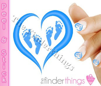 Pregnancy Loss Ribbon Blue Heart and Two Baby Feet Nail Art Decal Sticker Set - The FinderThings
