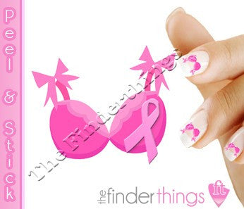 Breast Cancer Awareness Ribbon Bra Nail Art Decal Sticker Set