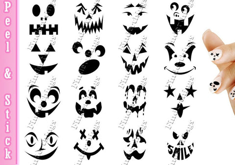 Halloween Scary Pumpkin Face Nail Art Decal Sticker Set