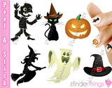 Halloween Witch Black Cat and Pumpkin Nail Art Decal Sticker Set - The FinderThings