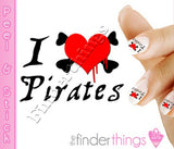 I Love Pirates Nail Art Decal Sticker Set