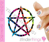Pentagram Symbol Leopard Print Nail Art Decal Sticker Set - The FinderThings