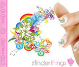 Rainbow Flower Swirl Nail Art Decal Sticker Set - The FinderThings