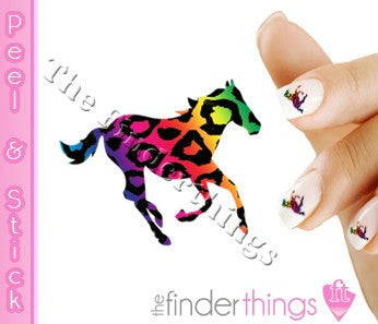 Running Horse Rainbow Leopard Print Nail Art Decal Sticker Set