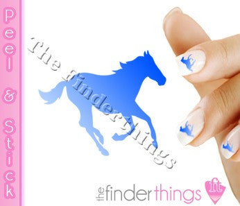 Running Horse Blue Fade Nail Art Decal Sticker Set - The FinderThings