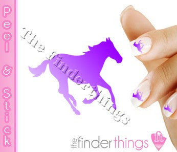Running Horse Purple Fade Nail Art Decal Sticker Set
