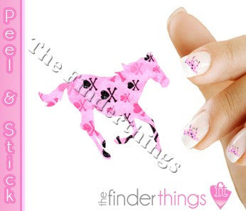 Running Horse Pink and Black Skull Nail Art Decal Sticker Set