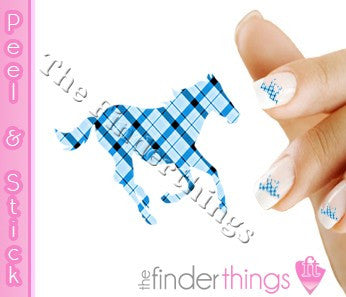 Running Horse Blue Plaid Nail Art Decal Sticker Set - The FinderThings