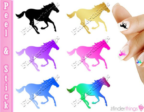 Running Horse Rainbow Blue Pink Mix Nail Art Decal Sticker Set - The FinderThings