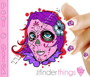 Day of the Dead Pink Sugar Skull Girl Nail Art Decal Sticker Set - The FinderThings