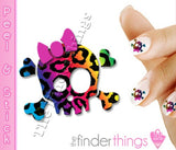 Rainbow Leopard Print Skull and Bow Nail Art Decal Sticker Set