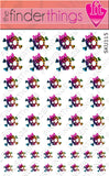 Rainbow Leopard Print Skull and Bow Nail Art Decal Sticker Set - The FinderThings