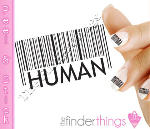 Black Bar code Human Nail Art Decal Sticker Set - The FinderThings