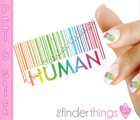 Rainbow Bar code Human Nail Art Decal Sticker Set - The FinderThings