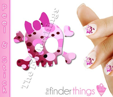 Pink Polka Dots Skull and Bow Nail Art Decal Sticker Set - The FinderThings