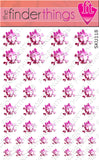 Pink Polka Dots Skull and Bow Nail Art Decal Sticker Set