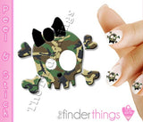 Green Woodland Camouflage Skull and Bow Nail Art Decal Sticker Set - The FinderThings