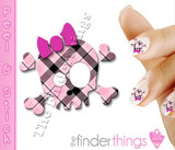 Pink Plaid Skull and Bow Nail Art Decal Sticker Set