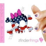 American USA Flag Skull and Bow Nail Art Decal Sticker Set - The FinderThings