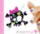 Colorful Skull Pattern Skull and Bow Nail Art Decal Sticker Set - The FinderThings