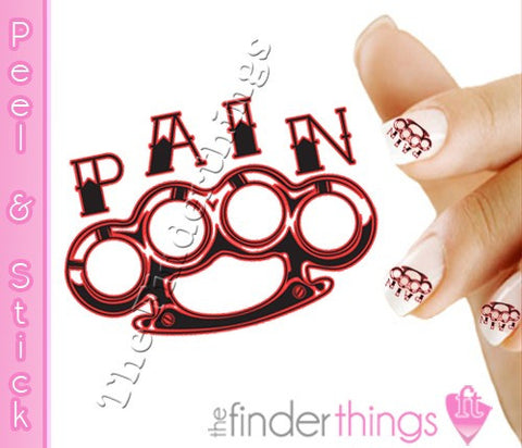 Brass Knuckle Pain Nail Art Decal Sticker Set - The FinderThings