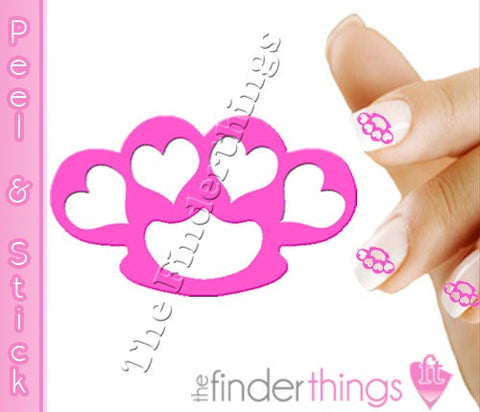 Pink Brass Knuckle Hearts Nail Art Decal Sticker Set - The FinderThings