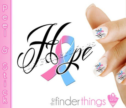 Pregnancy Infant Loss Awareness RIbbon Hope Nail Art Decal Sticker Set - The FinderThings