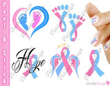 Pregnancy Infant Loss Awareness Ribbon Mix Nail Art Decal Sticker Set - The FinderThings