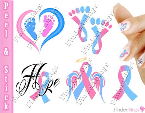 Pregnancy Infant Loss Awareness Ribbon Mix Nail Art Decal Sticker Set