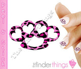 Pink Leopard Print Brass Knuckle Hearts Nail Art Decal Sticker Set - The FinderThings