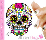 Sugar Skull with Rose and Swirl Eyes Nail Art Decal Sticker Set