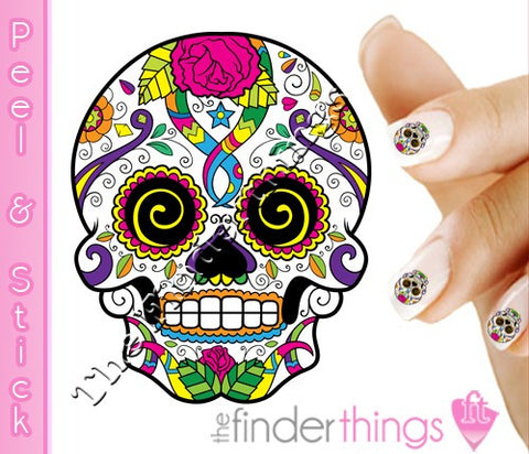 Sugar Skull with Rose and Swirl Eyes Nail Art Decal Sticker Set - The FinderThings
