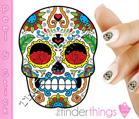 Sugar Skull with Rose and Spade Nail Art Decal Sticker Set