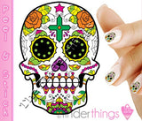Sugar Skull with Rose and Cross Nail Art Decal Sticker Set