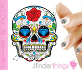 Sugar Skull with Rose and Diamond Nail Art Decal Sticker Set